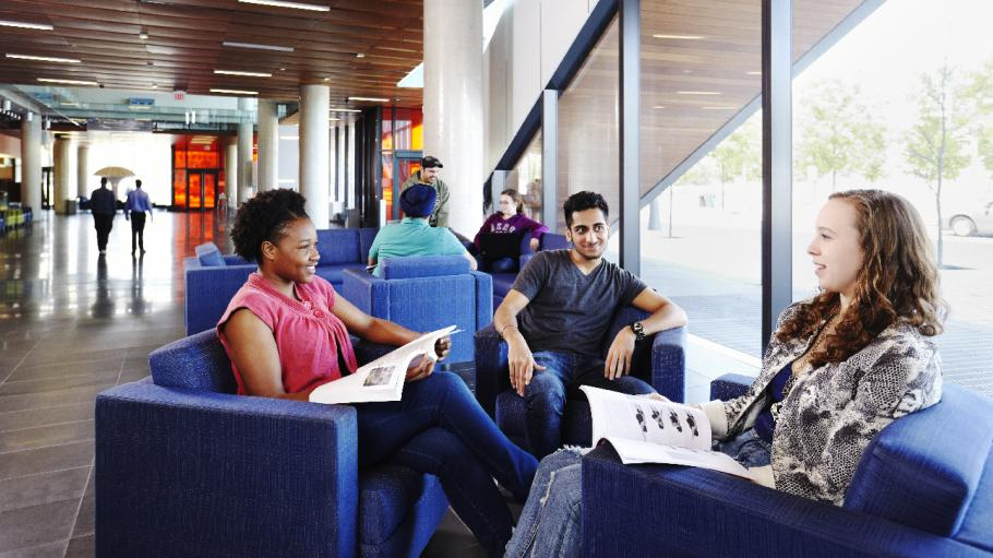Students study together in a common area of the Waterfront campus