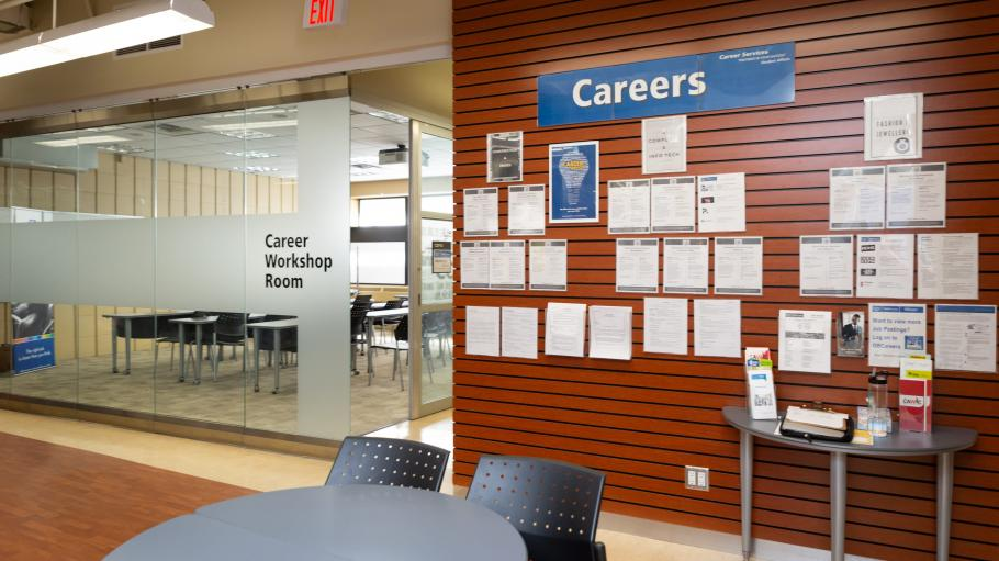 Career Services information and job board beside Career Workshop Room at the Career Centre at the Casa Loma campus.