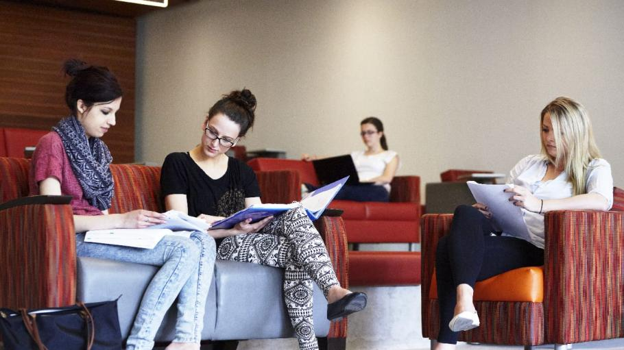 Students study together in the common area at Waterfront campus.