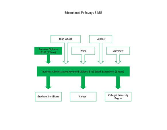 There are many pathways into the Business Administration Advanced Diploma B155 (Work Experience) program including high school, work, the Business Diploma program and other college or university programs. After graduating from the program, students can go to work, or they can further their education through a graduate certificate, a professional credential or designation, or a college or university degree.