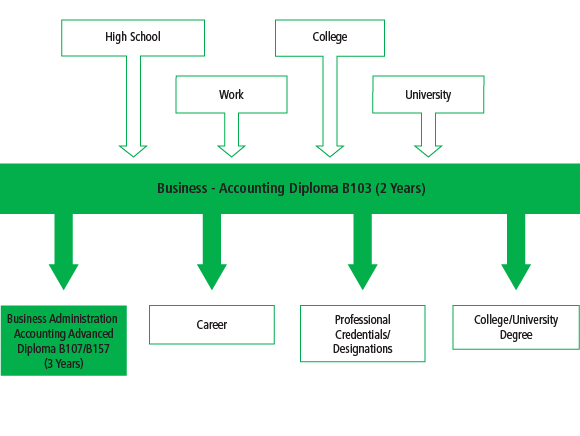 There are many pathways into the Business - Accounting Diploma B103 program, including high school, work and other college or university programs. After graduating from the program, students can go on to work, or they can further their education through another university or college program, or entering the Business Administration Accounting Advanced Diploma Program