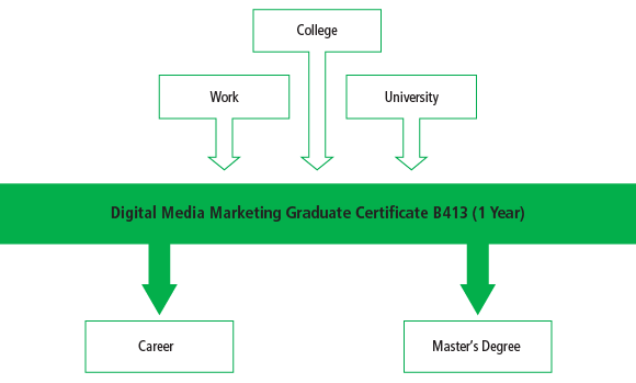 There are many pathways into the Digital Media Marketing Graduate Certificate B413 program including work, college programs and university programs. After graduating from the program, students can begin their career or some may chose to take a master's program.