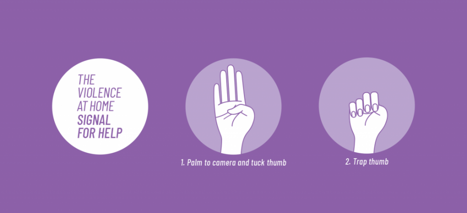 Violence at home signal for help - Turn the palm to camera and tuck the thumb, then trap the thumb