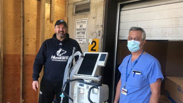 Michael Eliadis delivers ventilator to Sunnybrook Health Sciences Centre